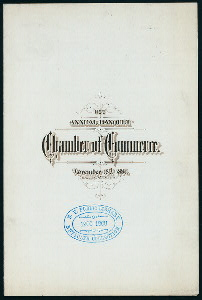 """116 ANNUAL BANQUET [held by] CHAMBER OF COMMERCE [at] """"DELMONICO,[NY]"""" (REST)"""