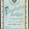"BANQUET FOR TERCENTENARY CELEBRATION [held by] UNIVERSITY OF EDINBURGH [at] ""DRILL HALL,FORREST ROAD,[EDINBURGH,ENGLAND]"" (?)"