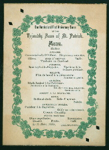 "101ST ANNIVERSARY DINNER [held by] FRIENDLY SONS OF ST.PATRICK [at] ""DELMONICO,[NY]"" (HOTEL)"