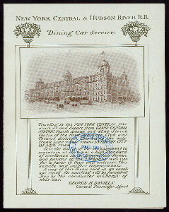 BREAKFAST [held by] NEW YORK CENTRAL & HUDSON RIVER R.R. DINING CAR SERVICE [at] EN ROUTE (RR;)