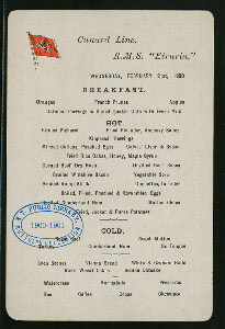 BREAKFAST [held by] CUNARD LINE [at] SS ETRURIA (SS;)