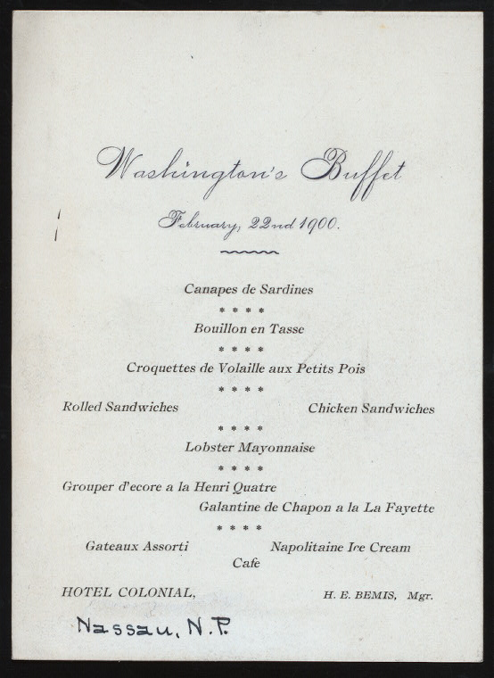 "WASHINGTON'S BUFFET [held by] COLONIAL HOTEL [at] ""[NASSAU, N.P.]"" (HOTEL;)"
