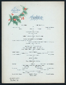 "NEW YEARS DAY DINNER [held by] WILLARD'S HOTEL [at] ""WASHINGTON, D.C."" (HOTEL;)"