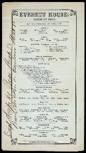 """CARTE DU JOUR [held by] EVERETT HOUSE [at] """"NEW YORK, NY"""" (RESTAURANT)"""