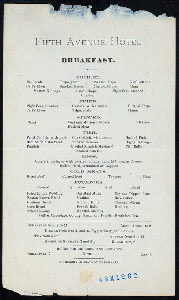 "BREAKFAST MENU [held by] FIFTH AVENUE HOTEL [at] ""[?NEW YORK, NY?]"" (HOT;)"