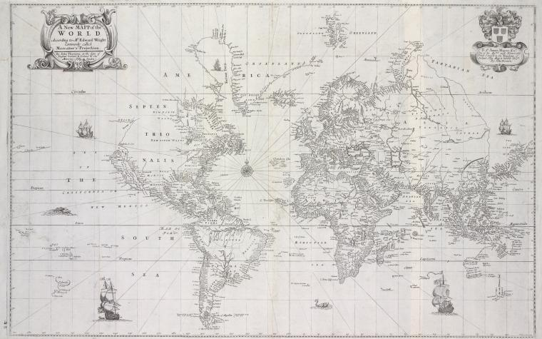 New mapp of the world according to Mr. Edward Wright ...