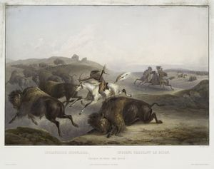 Indianische Bisonjagd. Indiens chassant le bison. Indians hunting the bison.