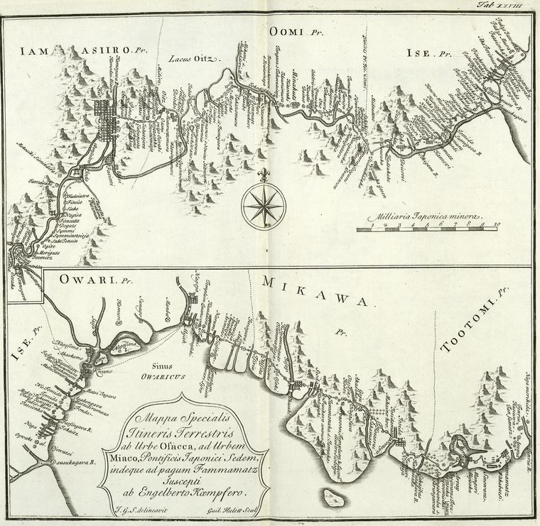 This is What Engelbert Kaempfer and A particular map of the road from Osacca [Osaca] to Miaco [Miyako-shi] and from thence to Fammamatz [Hamamatsu-shi] Looked Like  on 1/1/1727