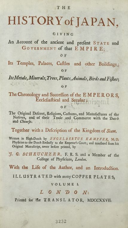 This is What Engelbert Kaempfer and Title page. Vol. 1 Looked Like  on 1/1/1727