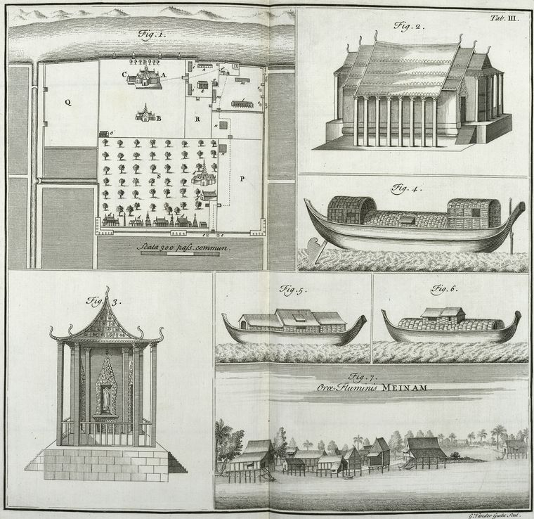 Fig. 1. The plan of the royal palace of Siam ;  Fig. 2.  A view of a temple of the Siamites ; Fig. 3.The front of the said temple ; Fig. 4, 5, 6. Inhabited boats of the Siamites ; Fig. 7. A view of the river Meinam.