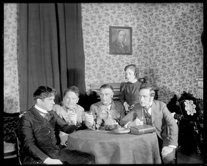Kenneth MacKenna as John Shand (extreme left), Helen Hayes as Maggie Wylie, Dennis Cleugh, Eugene Weber and Jack Terry as her three brothers Alick, David and James Wylie.