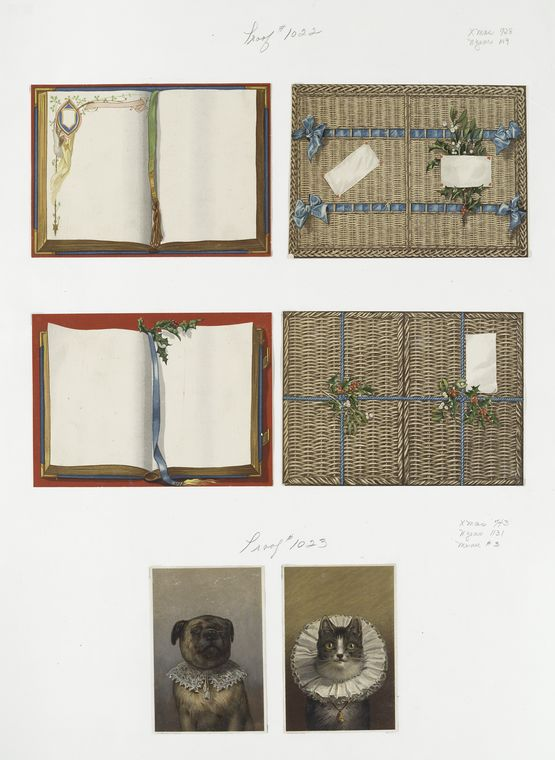 [Christmas and New Year cards depicting cats, dogs, books.]