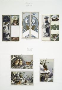 [Christmas and New Year cards depicting winter scenes with dogs, cats, birds, and horses.]
