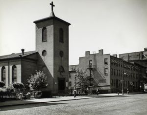St. Luke's Chapel and Old Houses, Hudson, corner of Grove, Manhattan.