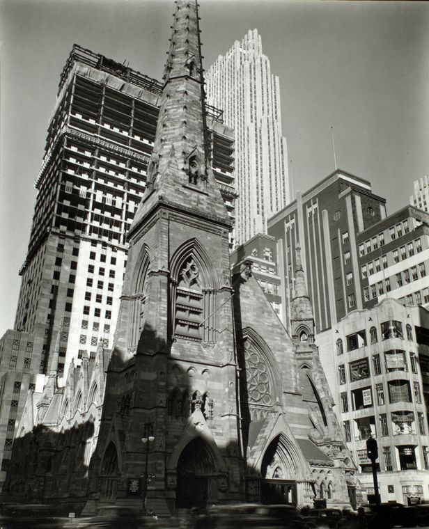 Rockefeller Center: Collegiate Church of St. Nicholas in foreground, Fifth Avenue and 48th Street, Manhattan.