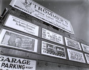 Advertisements, 1937, East Houston Street and Second Avenue, Manhattan.