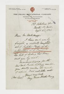 [Letter from Mary Dana-Hicks Prang to Frank Weitenkampf.]