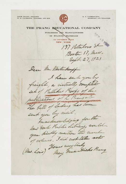 [Letter from Mary Dana-Hicks Prang to Frank Weitenkampf.]