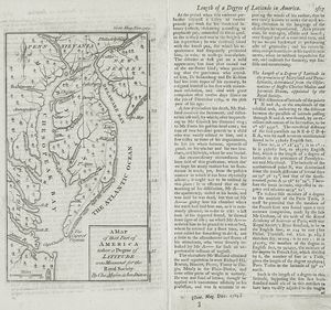 A map of that part of America where a degree of latitude was measured for the Royal Society / by Cha. Mason & Jere. Dixon.