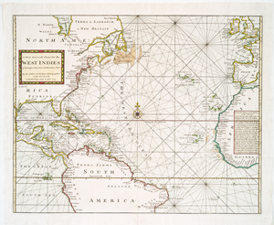 A new generall chart for the West Indies, of E. Wrights projection vul. Mercators chart
