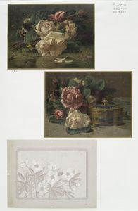 [Christmas cards depicting flowers and ornamental box.]