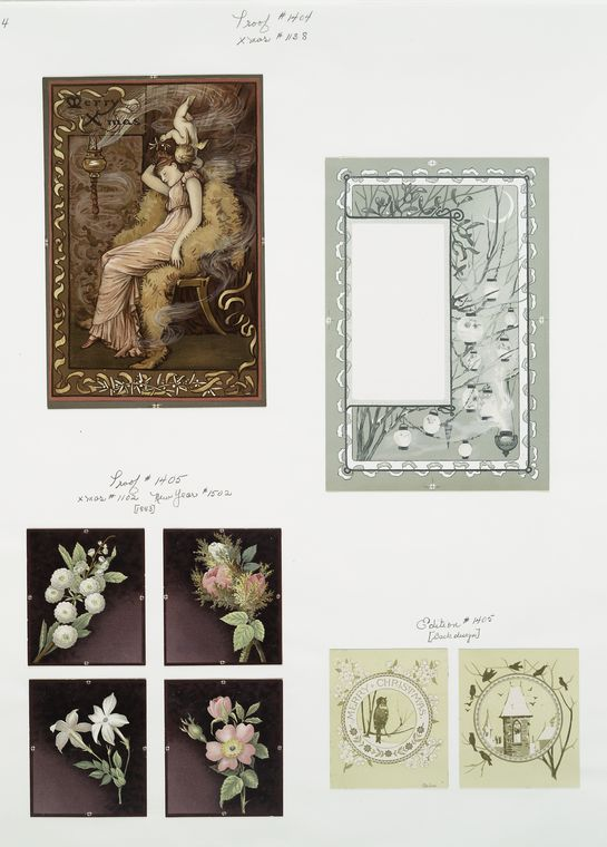 [Christmas and New Year cards depicting woman sleeping, with angel; lanterns; flowers; birds; belltower.]