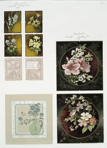 [Christmas, New Year, and birthday cards depicting flowers, butterflies, a jug.]