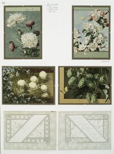 [Christmas cards depicting flower and plant forms.]