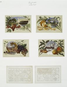 [Christmas cards depicting fruit, leaves, and landscapes, with trees, snow, and boats.]