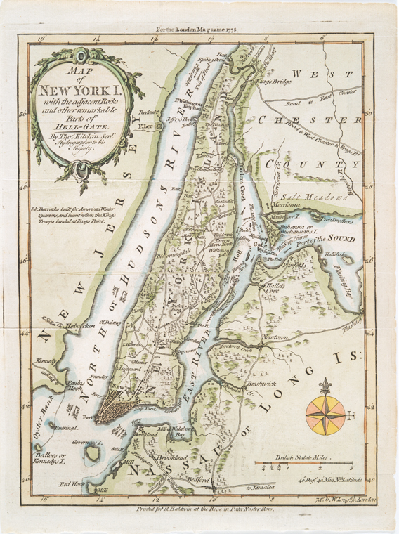 Map of New York I. : with the adjacent rocks and other remarkable parts of Hell-Gate / by Thos. Kitchin., senr. hydrographer to his Majesty.
