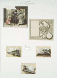 [Christmas and prize cards depicting, women and children, flowers, paper, a city view and decorative ornamentation.]