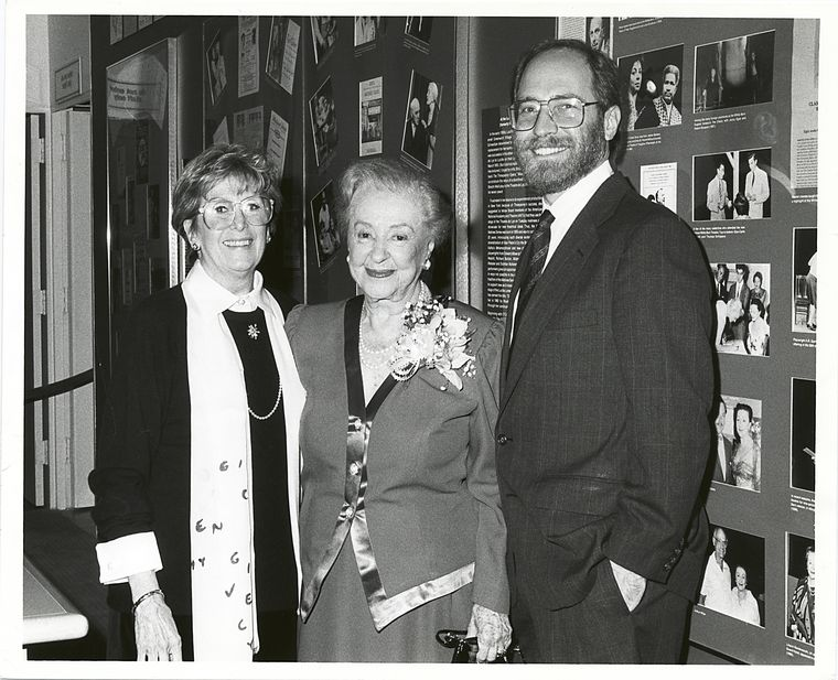Betty L. Corwin, Lucille Lortel, and Robert Marx at the celebration for the newly named Lucille Lortel Room, Theatre on Film and Tape, The Billy Rose Theatre Collection,1990; © Chase Roe.