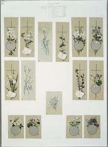 [Cards depicting flowers, crosses, paper, birds, butterflies, and fans.]