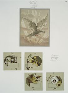[Easter, Christmas, and New Year cards depicting a bird with sunrays, and flowers.]