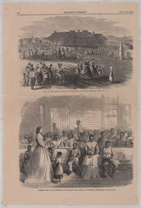 Noon at the Primary school (top) and Primary school for Freedmen, in charge of Mrs. Green, at Vicksburg, Mississippi (bottom).
