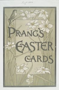 [Poster with the words 'Prang's Easter cards' and depicting flowers and birds.]