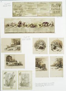 [Calendar for 1888 depicting flowers; cards depicting snowy winter scenes; Easter cards depicting flowers.]