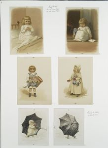 [Christmas cards depicting young girls, dolls, snow, umbrellas, a bed and a fireplace.]