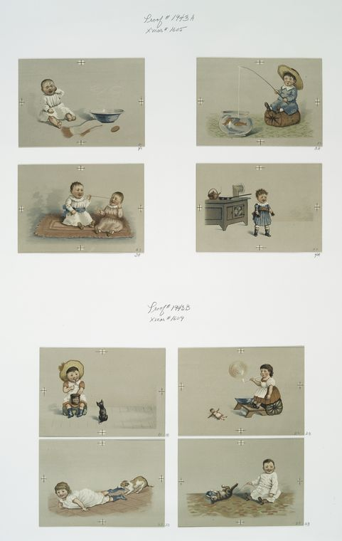 [Christmas cards depicting children, crying, fish, jam, cats, dogs, bubbles and a stove.]