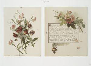 [Flower fancies: calendar with text; depicting flowers and an incense burner.]