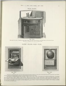 [Wash stand for corner, in veneered and plain black walnut, and Patent folding wash stand. Plates 147-D to 149-D.]