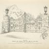 Wrought iron driveway gates and lamps for gate posts. [Plate 303-N].