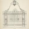 Wrought iron gates and railing with standards, arch and lamp. [Plate 308-N].