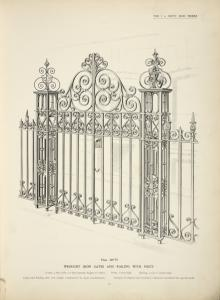 Wrought iron gates and railing with posts. [Plate 309-N].