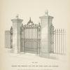 Wrought iron pedestrian gate, with side panels, railing and standards. [Plate 310-N].