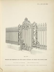 wrought iron pedestrian gate, with railing, standards and braces; with electric globes. [Plate 311-N].