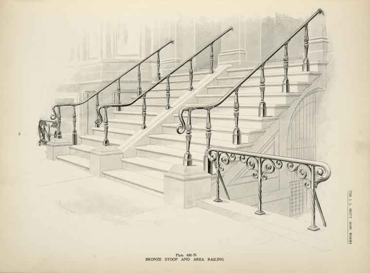Bronze stoop and area railing. [Plate 400-N].