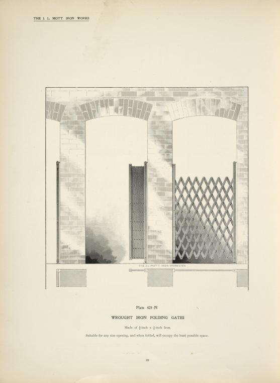 Wrought iron folding gates. Plate 421-N.
