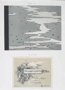 The Night Cometh by Albert S. Watson, illustrated by W. Goodrich Beal. [Depicting birds, flower vines and a sky scene with white clouds and silver stars.]