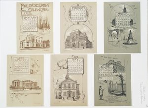Philadelphia Calendar, 1890, January - June : The Historical Society, The Old Swede's Church, Pennsylvania Academy of Fine Arts, The New City Hall, Lincoln Monument, Bridge and Tunnel Fairmount Park, Ridgeway Library, Carpenter's Hall, The New Post Office, Benjamin Franklin's Grave.